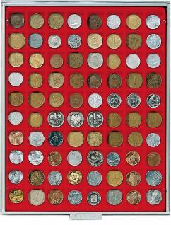LINDNER 2180 MÜNZBOXEN Münzbox Standard 80 x 24 mm Münzen quadratische Vertiefungen 1 DM 1 Euro