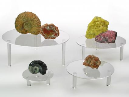 SAFE 55280 Runde ACRYL Präsentationsteller Deko Aufsteller 100 mm für Mineralien - Fossilien - Bernstein - Muscheln - Schnecken - Kristalle
