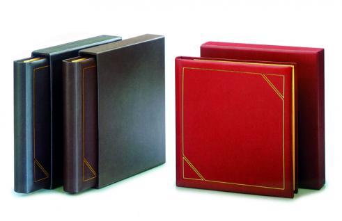SAFE Set 1508 + 1518 Leder Ringbinder Album FAVORIT mit 14 Ring-System + Kassette Weinrot - Rot Für Briefmarken - Blocks - Banknoten - Postkarten