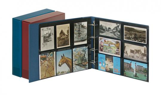 LINDNER 3008-B Postkartenalbum Ringbinder Standard XL Blau + Kassette (leer) zum selbst befüllen