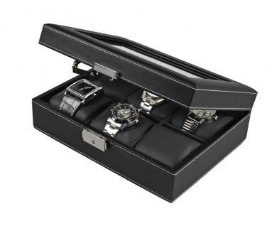 SAFE 217-2 Skai Uhrenkoffer Uhrenkassette Schwarz 6 extra großen Fächer + Uhrenhaltern in schwarz