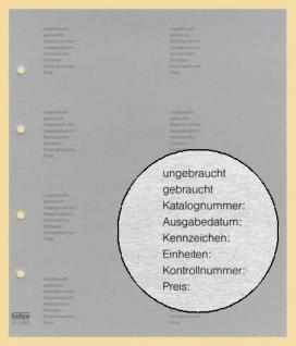 10 x KOBRA G28D Zwischenblätter ZWL Grauer Karton mit Inhaltsangabe Für Album Telefonkarten G28 G29