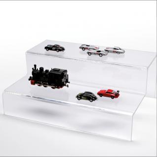 SAFE 5266 ACRYL Präsentations-Treppen Deko Aufsteller 2 Stufen Für Modellbau Autos Mini Trucks KFZ Standmodelle