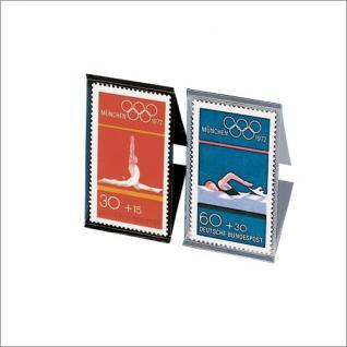 SAFE 960 tabs Klarsicht Klemmtaschen Schwarz Glasklar Für Briefmarken bis 60 mm Höhe - 7 er Pack