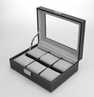 SAFE 217-1 Skai Uhrenkoffer Uhrenkassette Schwarz 6 extra großen Fächer + Uhrenhaltern in grau - anthrazit - Vorschau 2