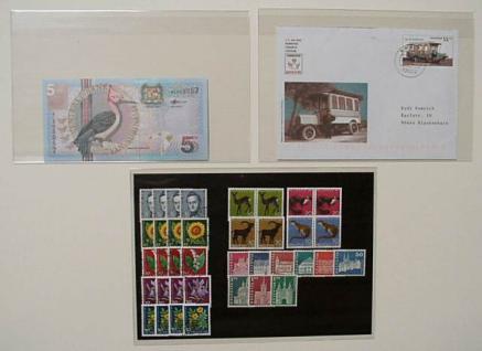 """100 x KOBRA T93 Banknotenhüllen Klapphüllen Schutzhüllen Hartfolie """" Special """" glasklar 201 x 127 mm Für Banknoten - Blocks - Briefmarken - Postkarten - Reklabilder - Vorschau 3"""