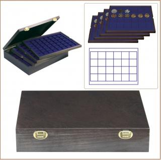 LINDNER 2494-4M CARUS-4 Echtholz Holz Münzkassetten 4 blauen Tableaus 96 quadratischen Fächern für Münzen bis 42 x 42 mm & Münzkapseln 36 mm