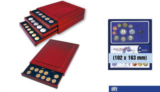 SAFE 6872 Nova Exquisite Holz Münzboxen 2 Eckige Fächer 102x163 mm Für EPALUX Euro PP Sets