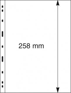 10 x LINDNER 091 UNIPLATE Blätter, glasklar 1 Streifen / Tasche 258 x 194 mm Für Gr. Belege Briefe Blocks Banknoten