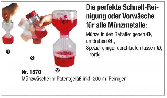 SAFE 1870 Münzreiniger Münzbad Münzen Reiniger Bad Sambol mit Patentgefäß 200 ml - Vorschau 2
