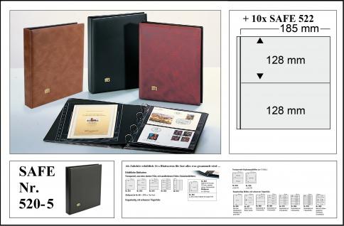 SAFE 520-5 Schwarz Universal Album Ringbinder + 10 Hüllen - 2 Taschen 185 x 128 mm Für Postkarten Ansichtskarten Banknoten Geldscheine Briefe FDC