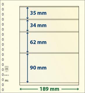 10 x LINDNER 802414P T-Blanko-Blätter Blankoblatt 18-Ring Lochung 4 Taschen 35 / 34 / 62 / 90 x 189 mm