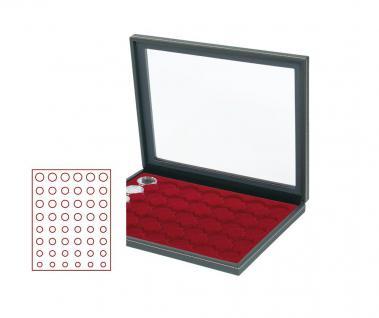 LINDNER 2367-2906E Nera M PLUS Münzkassetten Einlage Dunkelrot Rot mit glasklarem Sichtfenster für komplette 6 Euro Kursmünzensätze KMS 1 Cent - 2 Euro