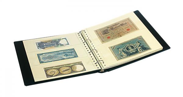 """LINDNER SRSBN Banknotennalbum Ringbinder Album """" SRS """" Schwarz mit 20 Hüllen je 10x 830 2er Teilung & 10x 831 3er Teilung für 100 Banknoten - Vorschau 2"""