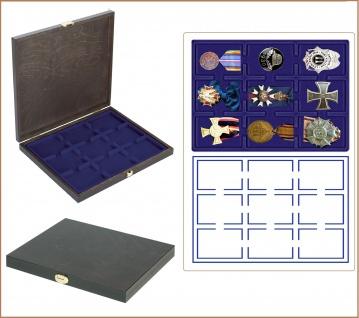 LINDNER S2491-2219ME CARUS-1 Echtholz Holz Sammelkassetten Münzkassetten 9 Fächer x 63x85 mm Für 9 Orden Militaria Abzeichen