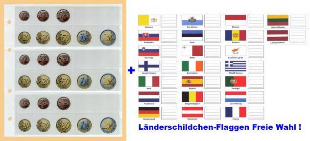 5 KOBRA FE24 Münzblätter Münzhüllen + weiße Zwischenblätter Für 3 komplette Euro KMS Kursmünzensätze + 15 Länderschildchen mit Flaggen