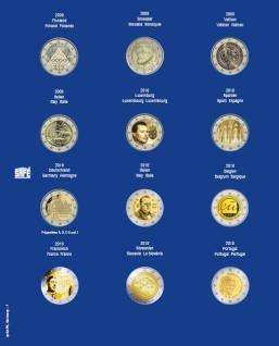 1 x SAFE 7302-7 TOPset Münzblätter Ergänzungsblätter Münzhüllen mit farbigem Vordruckblatt für 2 Euromünzen Gedenkmünzen in Münzkapseln 26 - 2009 - 2010