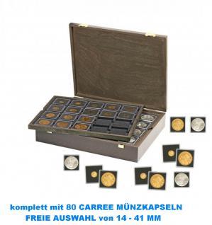 LINDNER 2494-2122CE CARUS Echtholz Holz Münzkassetten CARREE incl.+ 80 Münzkapseln CARREE FREIE WAHL
