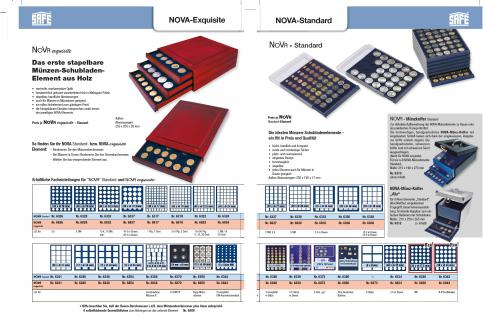 SAFE 6819 XXL Nova Exquisite Holz Münzboxen Schubladenelement mit 2 Tableaus 6319 für 126 Eckige Fächer x 19 mm Für 2 - 5 Pf 2 Cent € Euro - 1/10 & 1/20 Goldmünzen - Vorschau 4