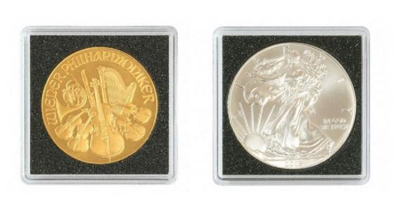 1 x LINDNER 2240038 Münzkapseln / Münzenkapseln CARREE 38 mm Für 10 FF Französische Franc - 1 Oz Österreich Philharmoniker Silber - Vorschau 2
