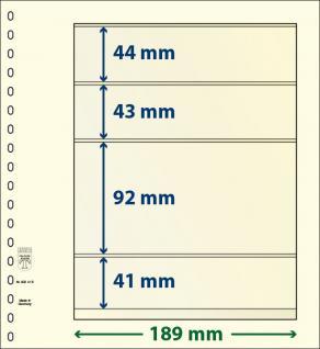 10 x LINDNER 802415P T-Blanko-Blätter Blankoblatt 18-Ring Lochung 4 Taschen 44 / 43 / 92 / 41 x 189 mm