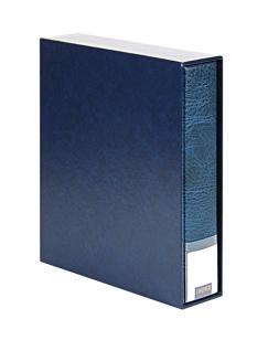 LINDNER 3533-B Blau Publica LS Ringbinder Album Universal A4 + Schutzkassette (leer) zum selbst befüllen