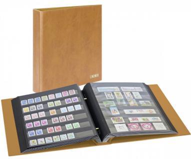 Lindner 1190-H Briefmarkenalbum Schraubendecke Schraubenringbbinder mit Schraubenmechanik Hellbraun - Braun + 10 Einsteckblätter 1171F mit jeweils 6 beiseitigen Klarsichtfolienstreifen