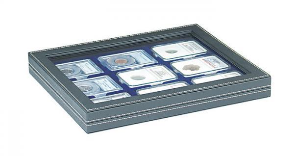 LINDNER 2367-2219ME Nera M Plus Münzkassetten mit Sichtfenster Marine Blau für 9 x original US Slabs Münzkapseln 64 x 86 mm