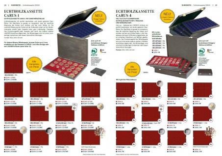 LINDNER 2494-10M CARUS-4 Echtholz Holz Münzkassetten 4 Tableaus blau 216 Fächer Münzen bis 25, 75 x 25, 75 mm 2 Euro Münzen - Vorschau 5