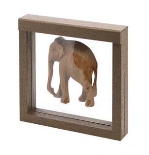 LINDNER 4878 NIMBUS 150 Sammelrahmen Braun Holzdekor Schweberahmen 3D 150x150x25 mm Für Deko Holz Figuren Tiere Elefanten