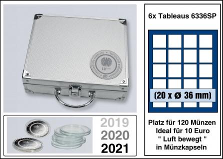 """SAFE 294 ALU Münzkoffer SMART Deutsche 10 Euro """"Luft bewegt"""" + 6x 6336SP Tableaus Für 120 Münzen bis 36 mm - Ideal für 10 Euro Deutschland Luft bewegt 2019 - 2020 - 2021 in Münzkapseln"""