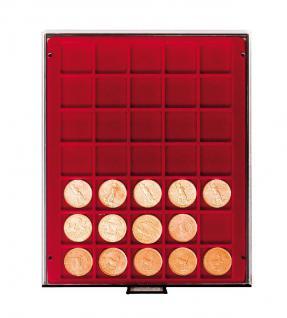 LINDNER 2735 MÜNZBOXEN Münzbox Rauchglas 35 x 36 mm Münzen quadratischen Vertiefungen 5 Reichsmark