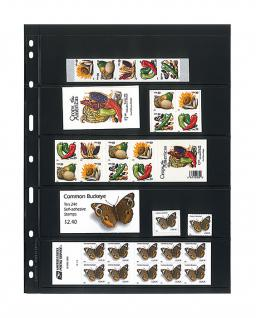 10 x LINDNER 075 UNIPLATE Blätter, schwarz 5 Streifen / Taschen 48 x 194 mm Für Briefmarken