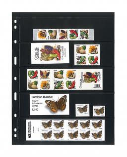 5 x LINDNER 075 UNIPLATE Blätter, schwarz 5 Streifen / Taschen 48 x 194 mm Für Briefmarken - Vorschau 1