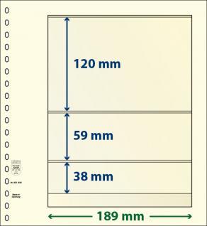 10 x LINDNER 802306P T-Blanko-Blätter Blankoblatt 18-Ring Lochung - 3 Taschen 120 / 59 / 38 x 189 mm
