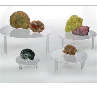 SAFE 5283-1 4x Set 5280 + 5281 + 5282 + 5283 Runde ACRYL Präsentationsteller Deko Aufsteller 100 - 240 mm Für Mineralien - Fossilien - Steine - Muscheln - Bernstein - Kristalle