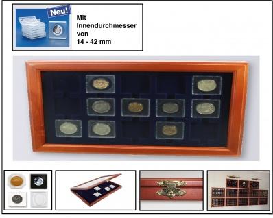 SAFE 5846 HOLZ MÜNZVITRINEN 15 Fächer 50x50 mm Für SAFE Square quadratische Münzkapseln 14 - 42 mm