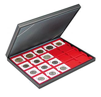 LINDNER 2364-2122E Nera M Münzkassetten Einlage Hellrot Rot 20 Fächer 50 x 50 mm Münzrähmchen Octo Carree Quadrum Münzkapseln