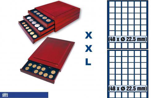 SAFE 6822 XXL Nova Exquisite Holz Münzboxen Schubladenelement mit 2 Tableaus 6322 und 96 Eckige Fächer x 22, 5 mm Für 10 - 50 Pf - 5 - 10 - 20 Cent € Euro - viele 1/4 Unze Goldmünzen - 5 & 10 Goldmark Kaiserreich