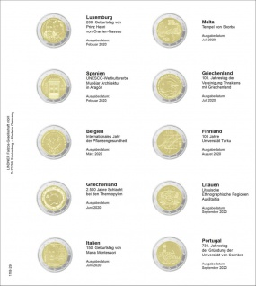 1 x LINDNER 1118-29 Vordruckblatt + K3 Karat Blatt 2 EURO Gedenkmünzen Luxemburg - Portugal 2020