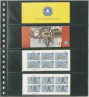 10 LINDNER 824P Klarsichthüllen Schwarz mit 4 Taschen 242 x 65 mm Für Banknoten Briefmarken Markenheftchen