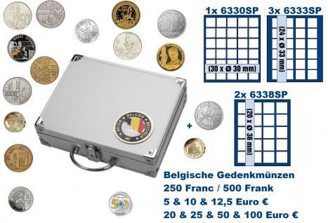 SAFE 239 ALU Länder Münzkoffer SMART Belgein / Belgique / Belgie / Belgium mit 1 Tableaus 6330, 3x 6333, 2x 6338 für 142 Gedenkmünzen 250 / 500 Franc - 5 / 10 / 12, 5 / 20 / 25 / 50 / 100 Euro