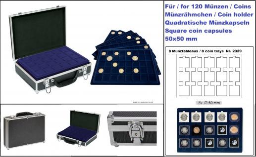 LINDNER 2338M-120 ALU MÜNZKOFFER Black Design + schwarzen Velour Innen + 8 blauen Tableaus 2329M-15 für 120 Münzrähmchen & Octo Carree Quadrum Square Plaza quadratische Münzkapseln 50x50mm