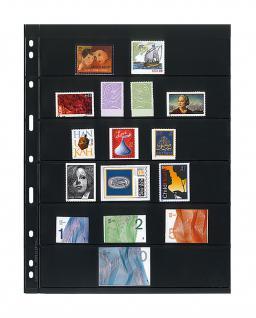 10 x LINDNER 076 UNIPLATE Blätter, schwarz 6 Streifen / Taschen 39 x 194 mm Für Briefmarken