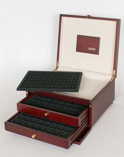 LINDNER KABINETT Münzkassetten + Ablagefach + 2 Schuber + 6 Tableaus 2148CE für 288 Münzen bis 30 mm - Ideal für 2 Euro Münzen