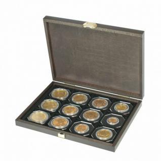 LINDNER S2489-12 Echtholz Kassette Carus XM 12 Fächer Münzen bis 52 mm Ideal für Standard Münzrähmchen Carree Münzkapseln & Quadrum Münzkapseln