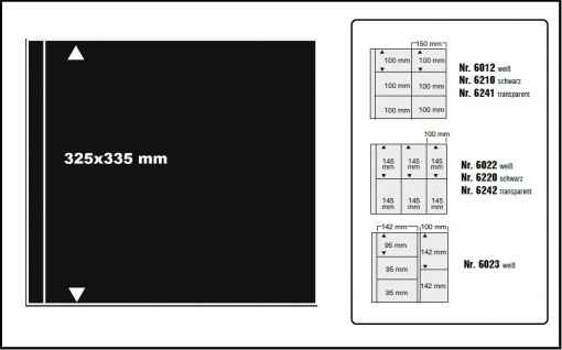 10 SAFE 6027 Zwischenblätter ZWL aus schwarzem Karton Format 350x335mm Für SAFE Ergänzungsblätter 6012 6022 6023 6210 6220 6241 6242