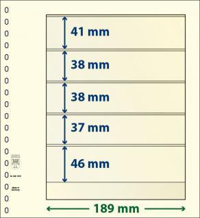 10 x LINDNER 802505P T-Blanko-Blätter Blankoblatt 18-Ring Lochung 5 Taschen 41 / 38 / 38 / 37 / 46 x 189 mm