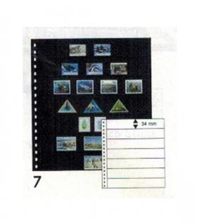 10 x LINDNER 07P Omnia Einsteckblätter schwarz 7 Streifen x 34 mm Streifenhöhe