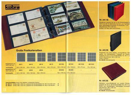 1 x KOBRA AK16H Einsteckblätter Ergänzungsblätter glasklar 6 Taschen 100x153 mm im Hochformat Für Postkarten Ansichtskarten - Vorschau 2